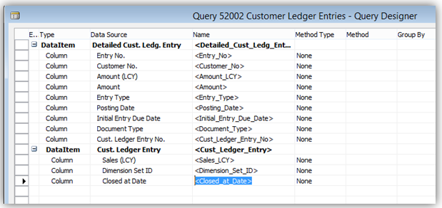 Customer Ledger Entry Query